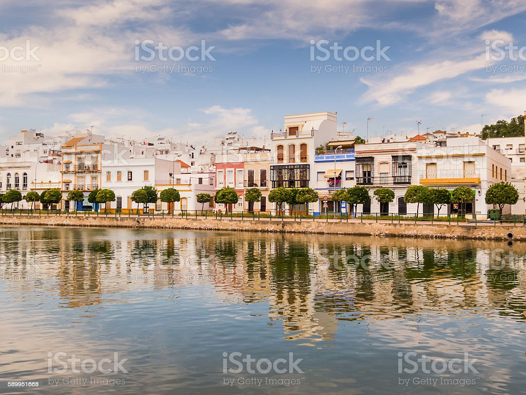 Riverbank Ayamonte, Andalucia, Spain stock photo