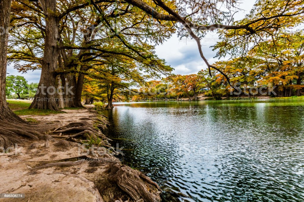 Riverbank of the Frio River at Garner State Park, Texas stock photo