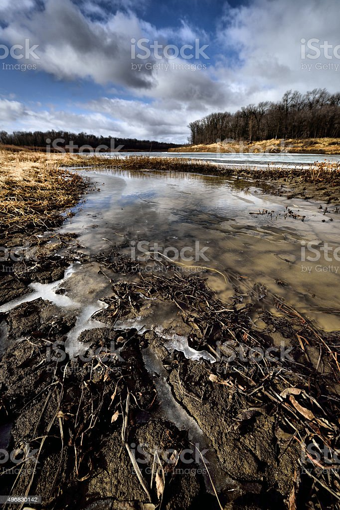 Riverbank Red River stock photo