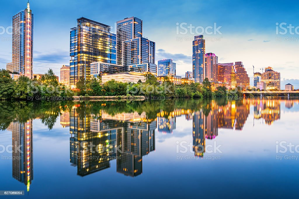 Riverbank Skyline of Austin Texas USA stock photo