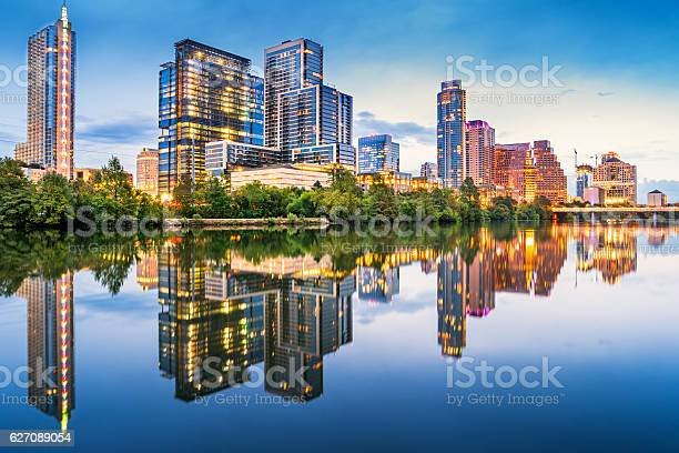 Photo of Riverbank Skyline of Austin Texas USA