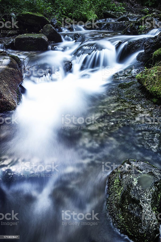 riverbed in swiss mountains royalty-free stock photo