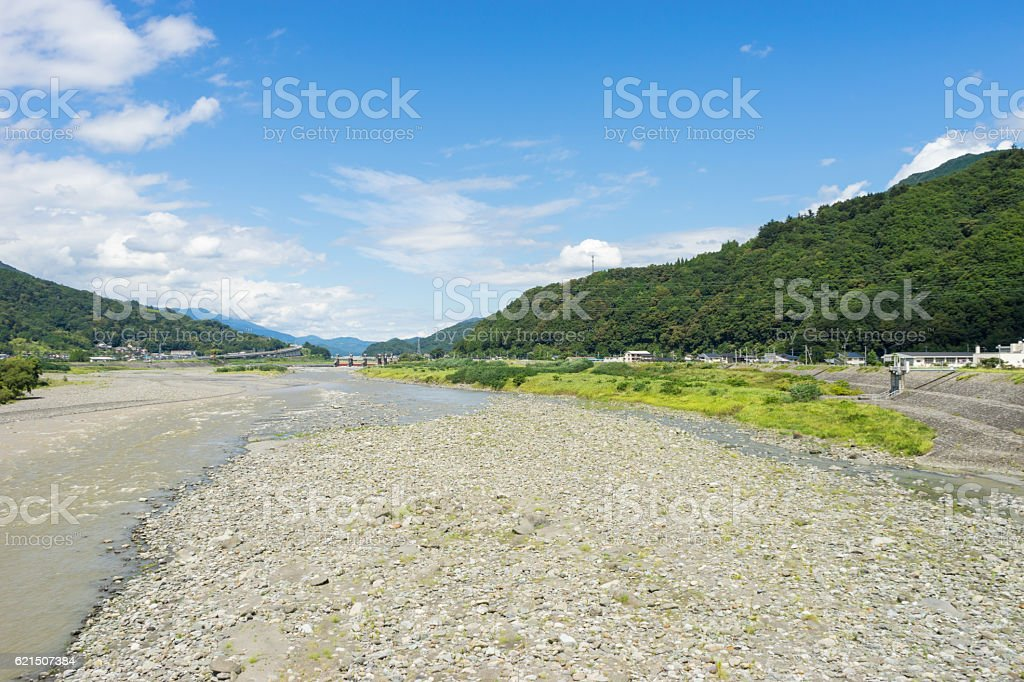 Riverbed of Fujikawa river Lizenzfreies stock-foto