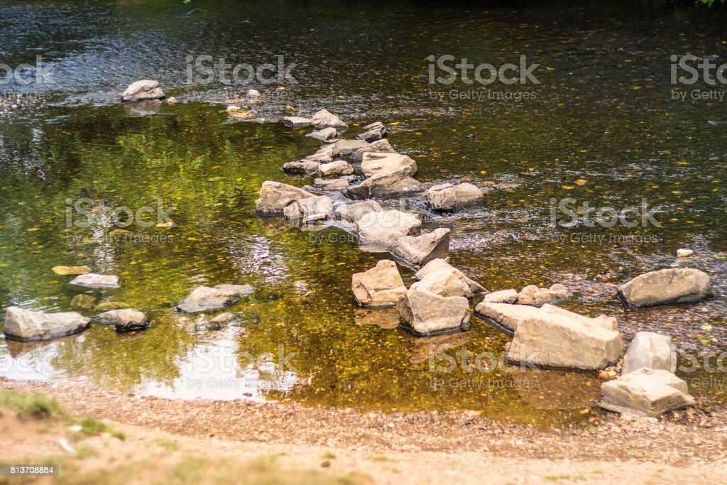 Riverbed with big stones stock photo