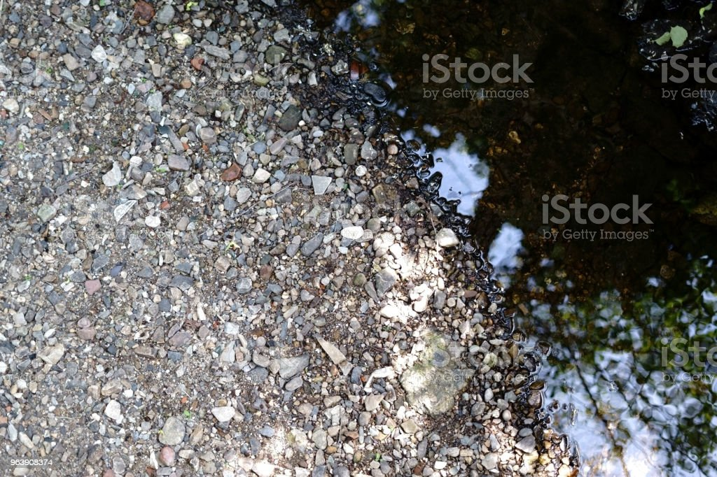 Riverbed with pebbles - Royalty-free Aerial View Stock Photo