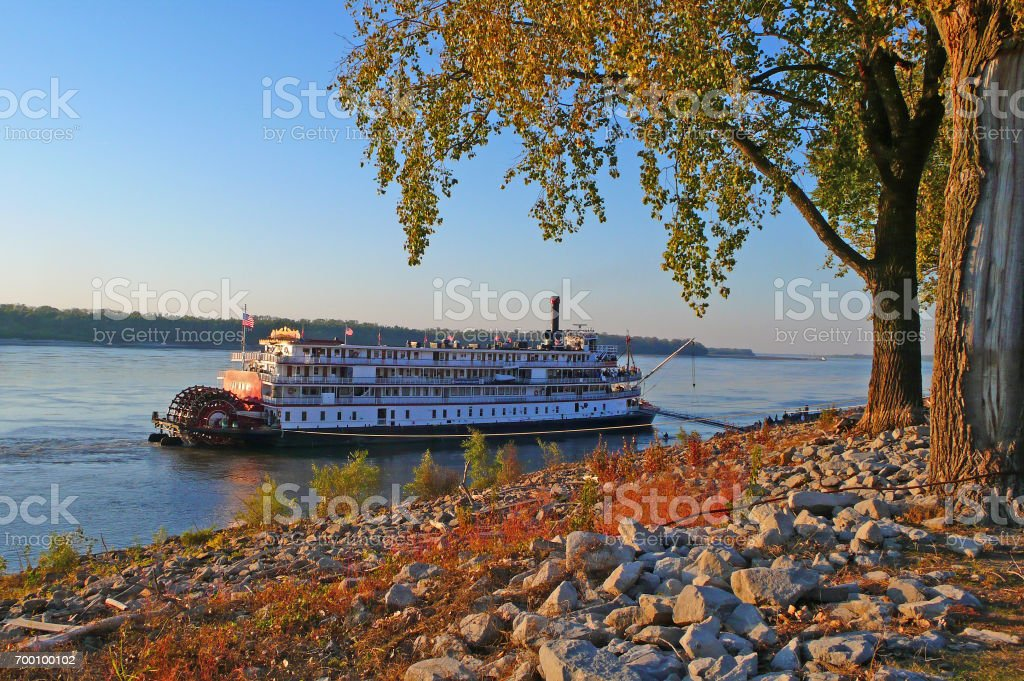 Riverboat in fall stock photo