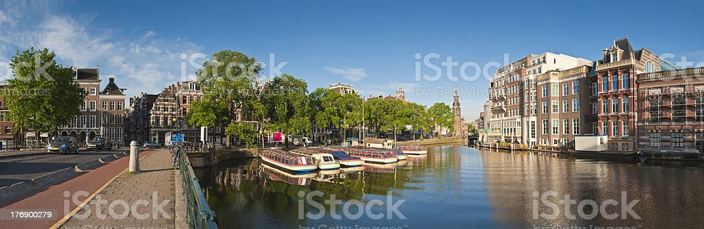 Riverboats and reflections, Amsterdam royalty-free stock photo