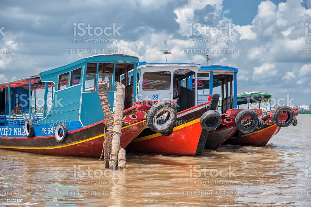 Riverboats on Mekong river stock photo
