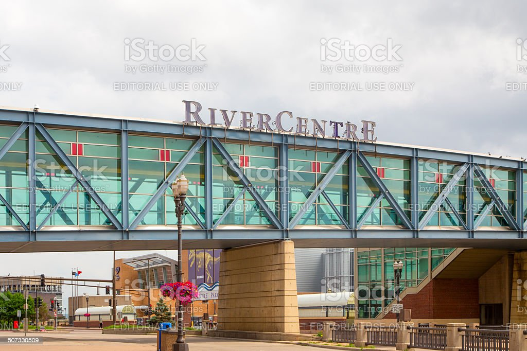 RiverCentre Walkway at Xcel Energy Center stock photo