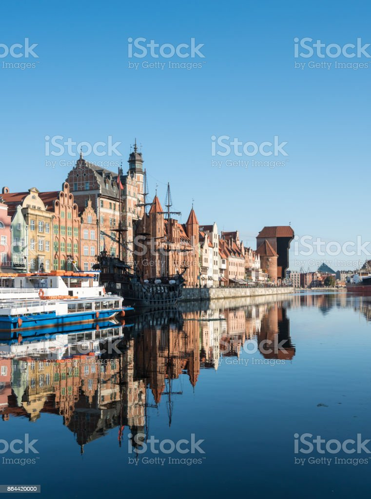 Riverfront bars and restaurants in Gdansk Poland stock photo