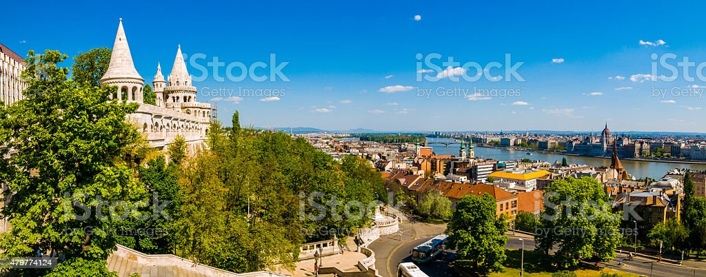 Riverfront cityscape in Budapest, stock photo