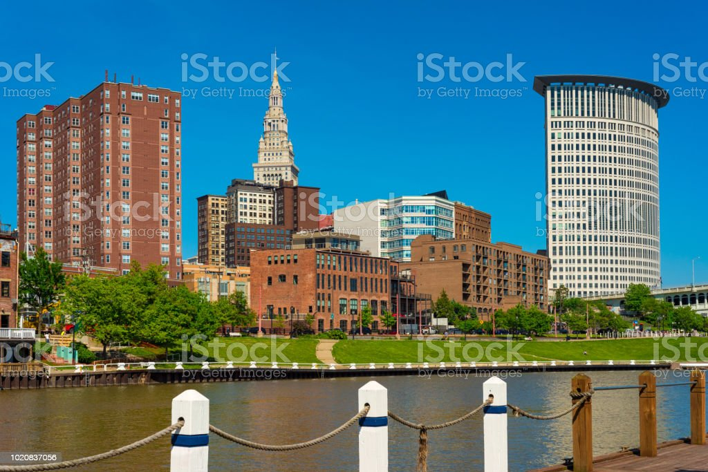 Riverfront downtown Cleveland stock photo