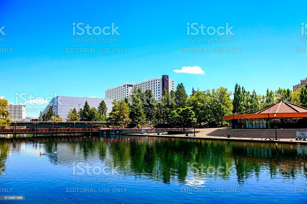 Riverfront Park and city view of Spokane, Washington stock photo