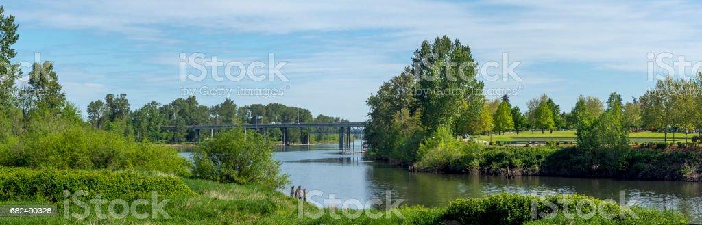 Riverfront Park Willamette River Bridges Over Salem Oregon Cars Pedestrian royalty-free stock photo