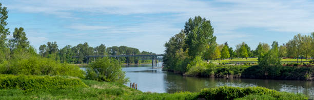 Riverfront Park Willamette River Bridges Over Salem Oregon Cars Pedestrian stock photo