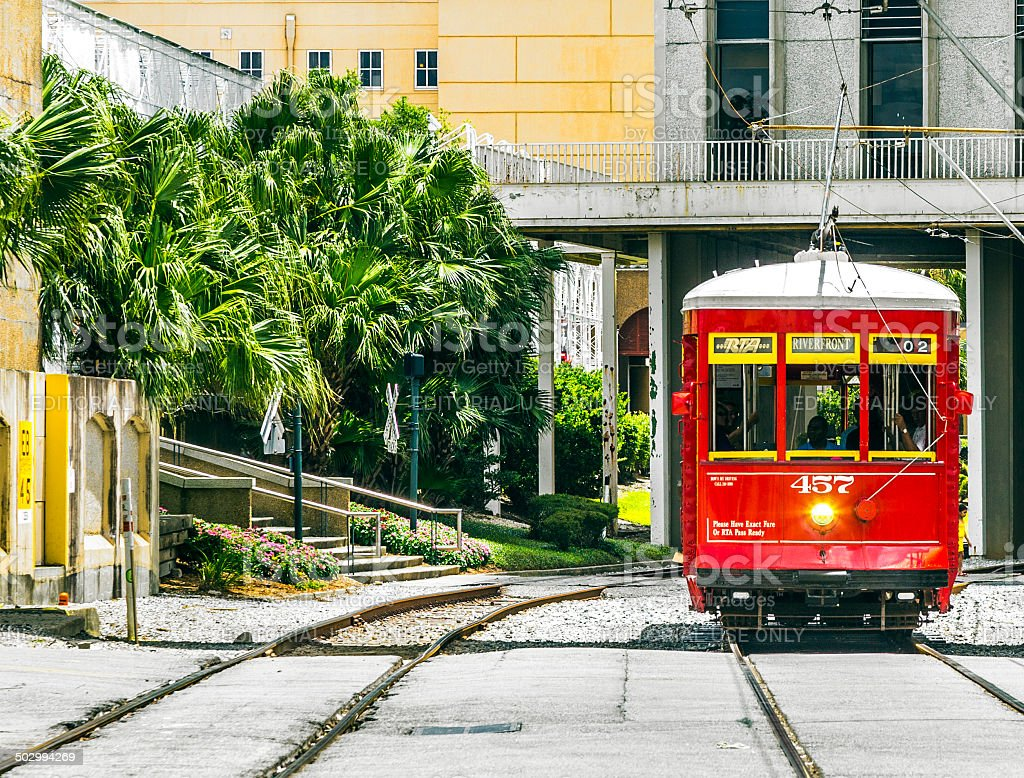 Riverfront streetcar in New Orleans stock photo