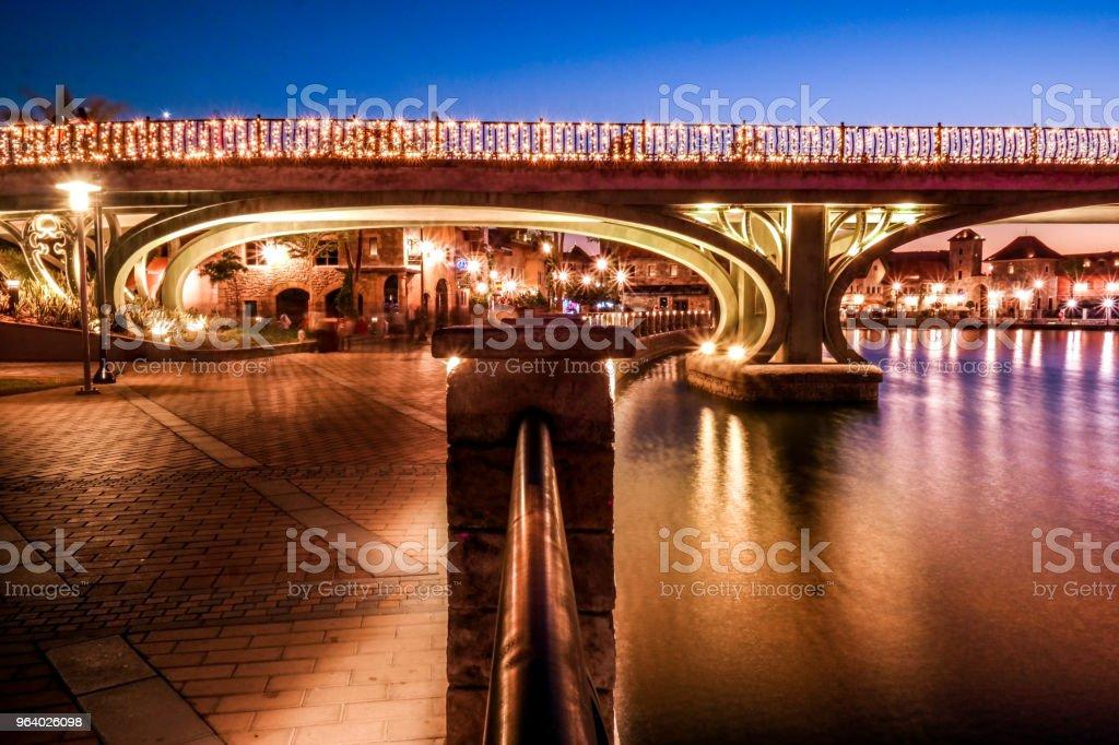 Riverland village Dubai parks lights - Royalty-free Bridge - Built Structure Stock Photo