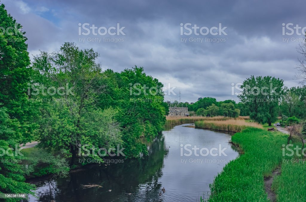 Rivers and trees in Back Bay Fens, in Boston, USA stock photo