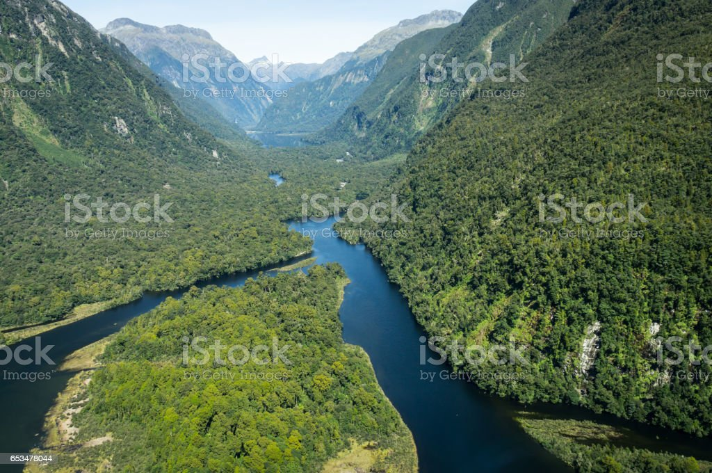 Rivers at Milford Sound, New Zealand stock photo