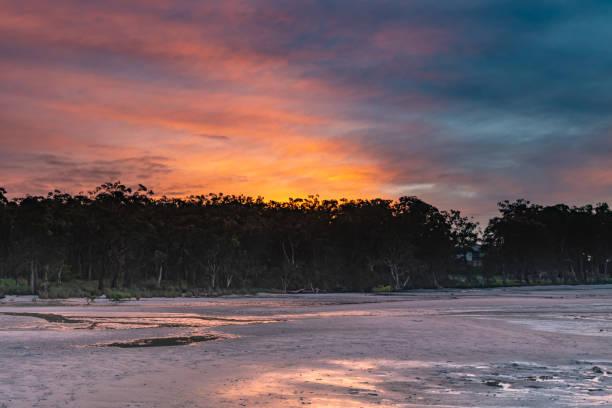 Rivers Edge Sunrise stock photo