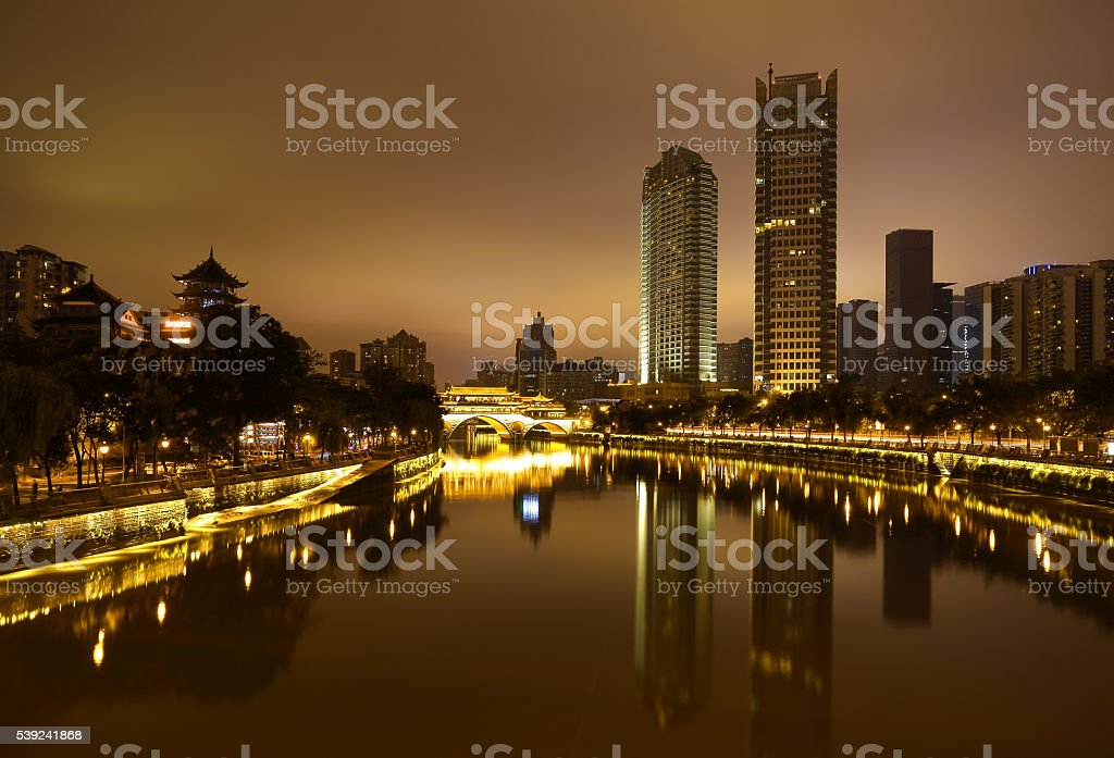 Rivers with city modern architecture background Night royalty-free stock photo