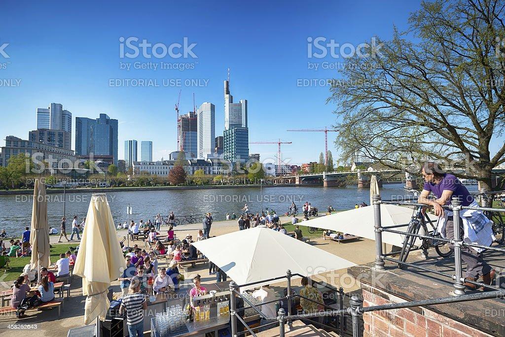 Riverside and skyline,Frankfurt royalty-free stock photo