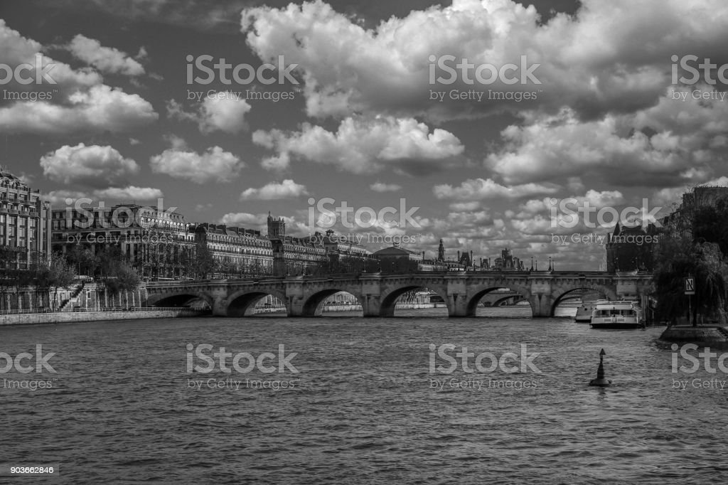 Riverside and swans on the Vlatava River stock photo