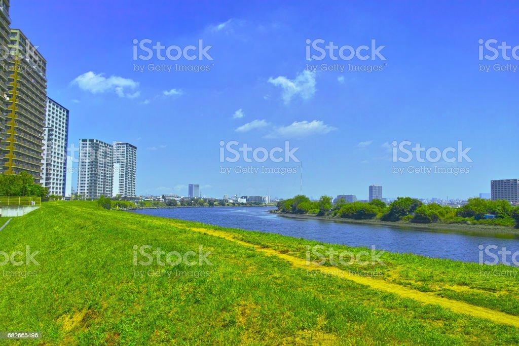 Riverside apartment stock photo