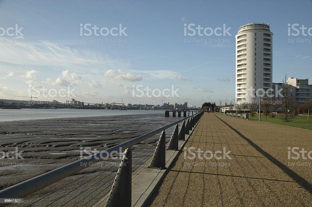 Riverside Apartments, Thames Barrier Park stock photo