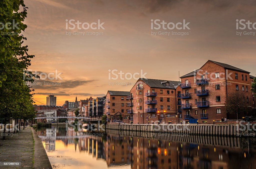 Riverside Buildings at Sunset stock photo