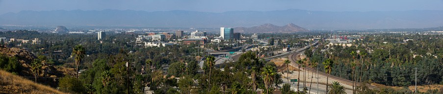 Aerial view of the downtown skyline of Riverside, California, USA.