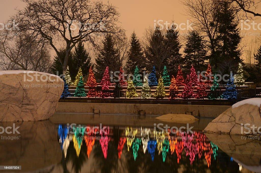 Riverside Christmas decorations stock photo