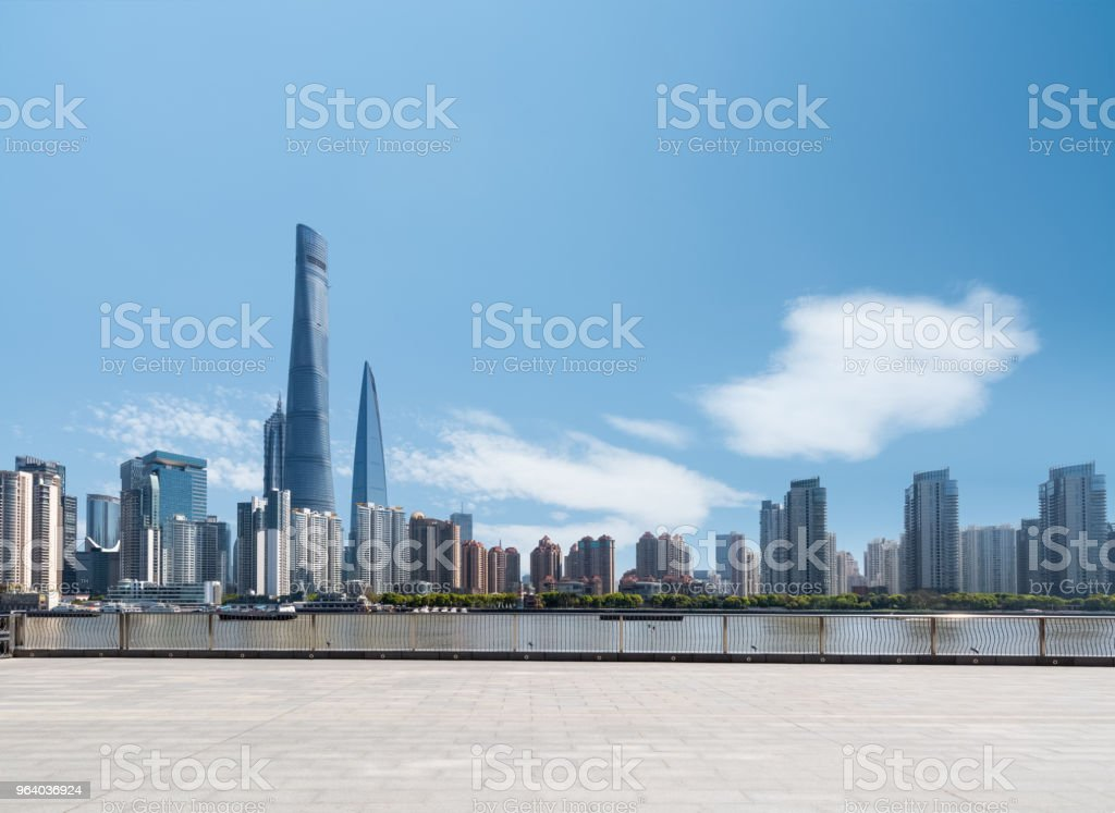 riverside cityscape with viewing platform - Royalty-free Architecture Stock Photo