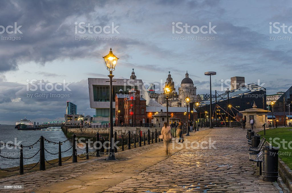 Riverside Cobbled Footpath at Twilight stock photo