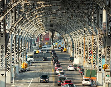 traffic under Riverside Drive Viaduct, Harlem, Upper Manhattan, New York City, elevated view
