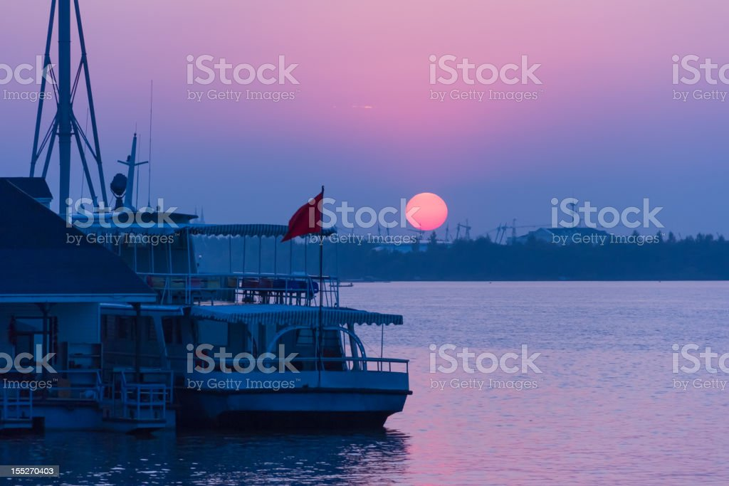Riverside evening view in Harbin royalty-free stock photo