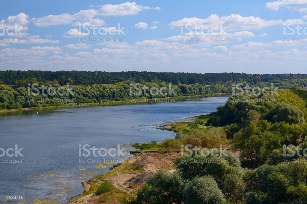 Riverside in a bright summer day stock photo