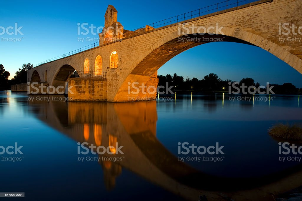 Riverside landscape of bridge at Saint-Benezet stock photo