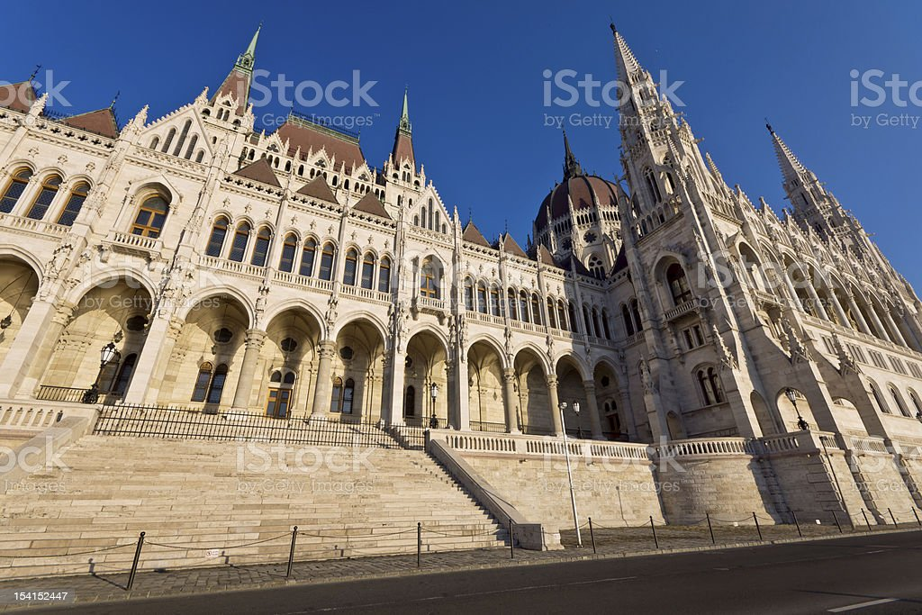Riverside of the hungarian Parliament in Budapest royalty-free stock photo