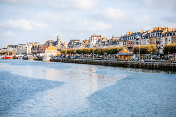 Riverside of Trouville village in France Landscape view on the riverside of trouville village, famous french resort in Normandy calvados stock pictures, royalty-free photos & images