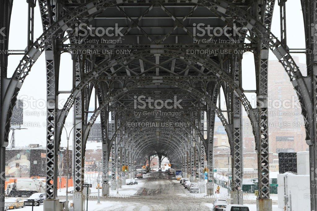 Riverside Overpass near New York Subway station, 125st St. Station stock photo