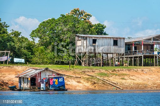 Houses at the border of Negro River, near Manaus, capital of the State of Amazonas