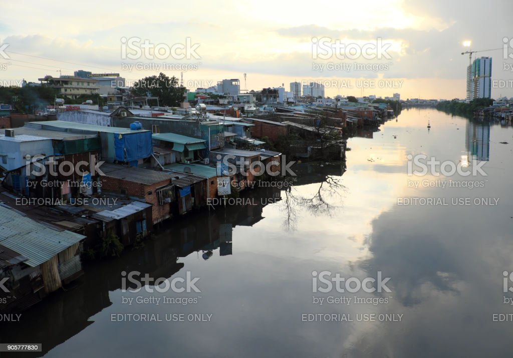 Riverside residential in Ho chi Minh city stock photo