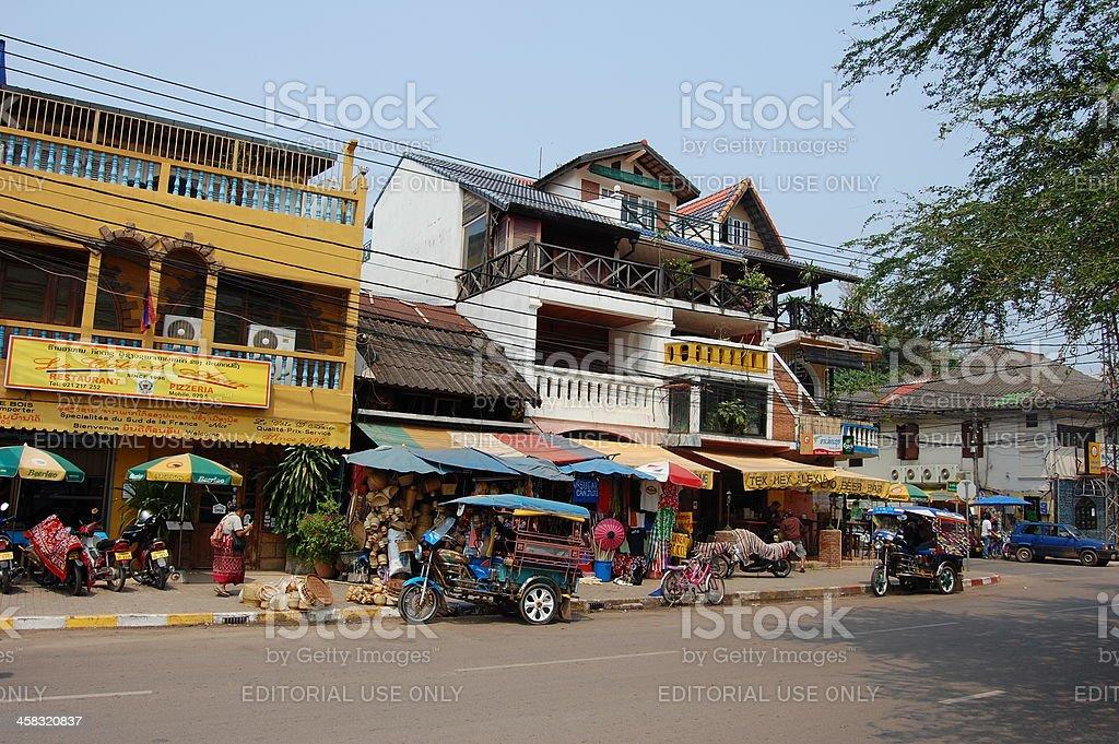 Riverside street in Vientiane, Laos stock photo