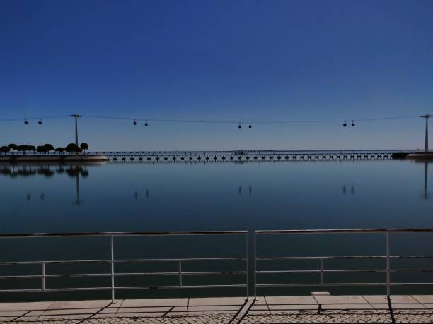 Riverside view of Tejo river. stock photo