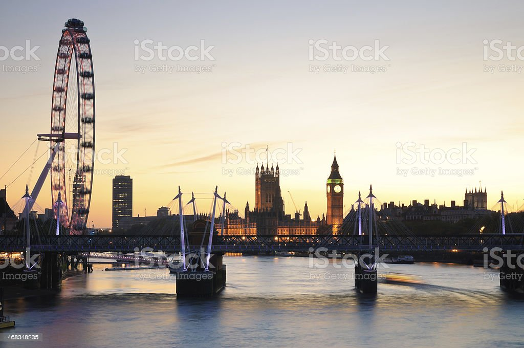 Riverside view of the wonderful London skyline at sunset royalty-free stock photo