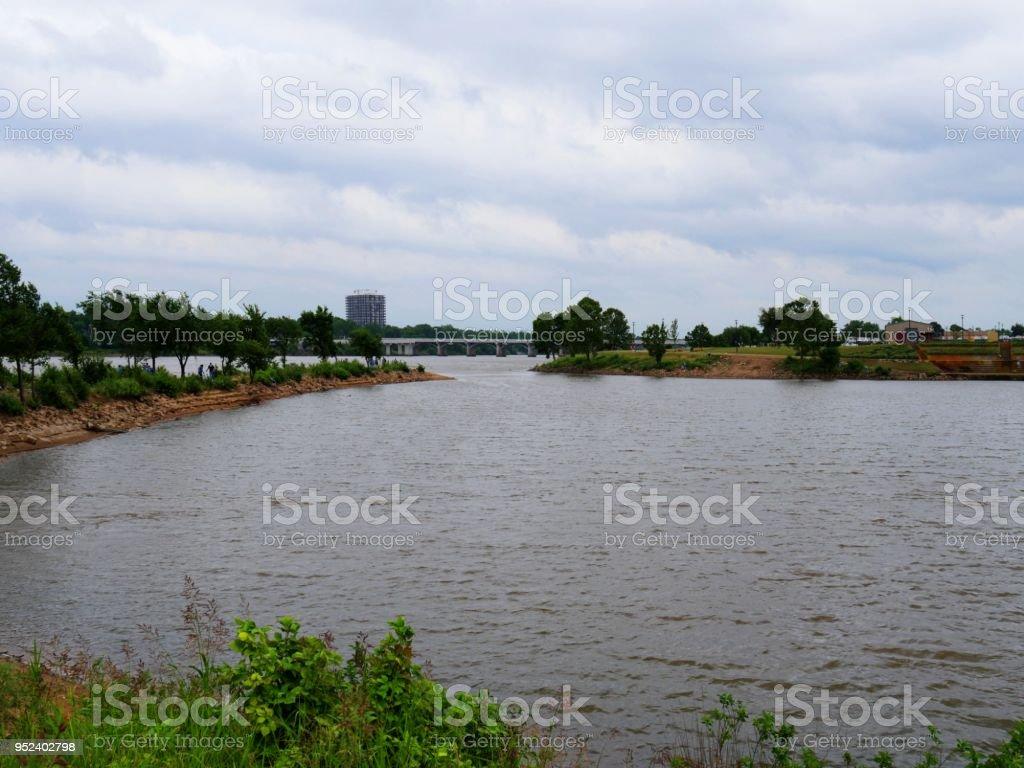 Riverside view of Tulsa City Oklahoma stock photo