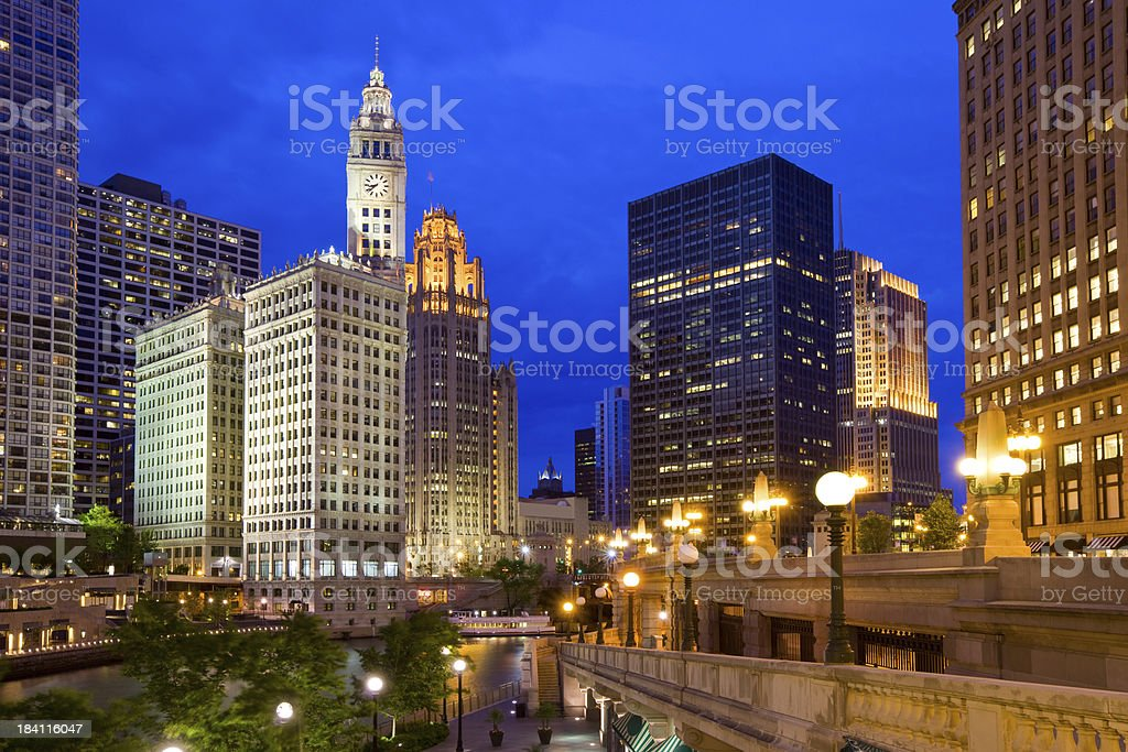 Riverwalk along the Chicago River in Chicago USA stock photo