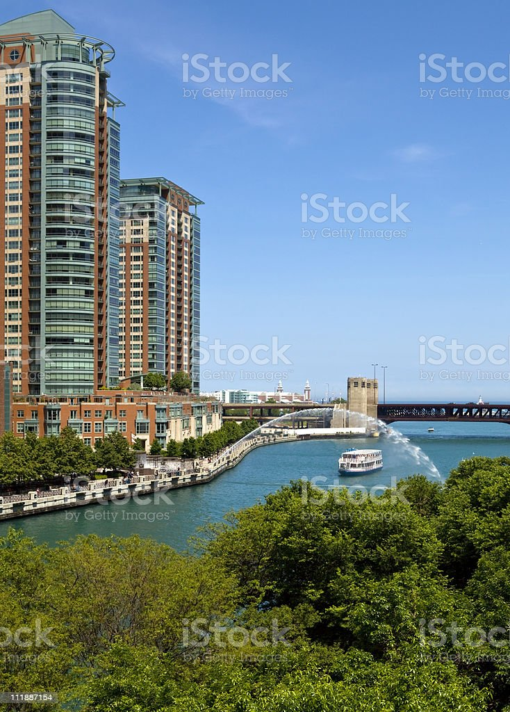 Riverwalk along the Chicago River stock photo