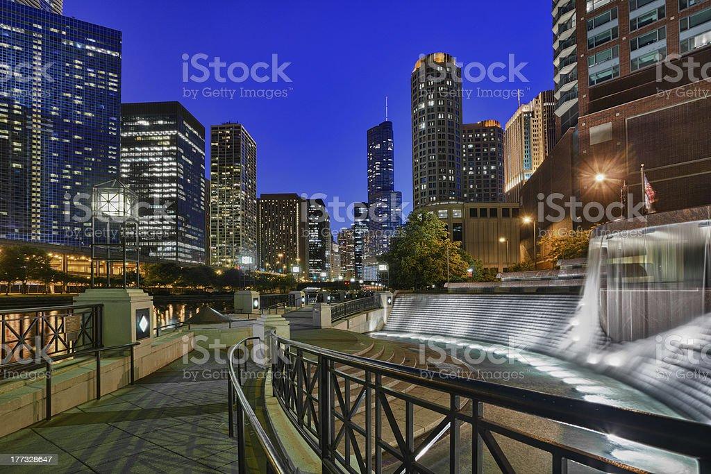 Riverwalk and Centennial Fountain stock photo